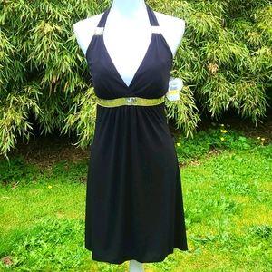 NWT Love Tease halter dress w/ sequins, M